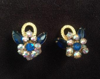 Juliana D&E Capri Blue with AB Clear Rhinestone Spray Earrings 0601
