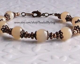 Beaded Bracelet, Jade Bracelet, Ivory Bracelet, Copper Bracelet, Handmade Bracelet, Jade and Copper Bracelet, Ivory and Copper Bracelet