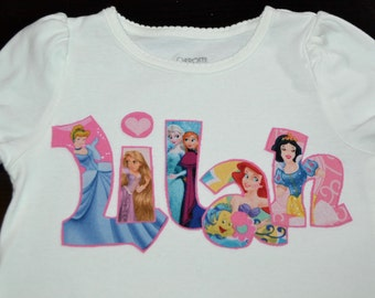 Custom Personalized Princess Applique Shirt . . . Perfect for a Disney Vacation or Birthday . . . Disney Princess