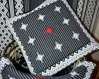 Handloom Cushion–  Woven Textile – Geometric Pattern– Stripped– Soft Furnishings– Throws – Black,White & Red – Fork Art– Ethnic Pillow Cover