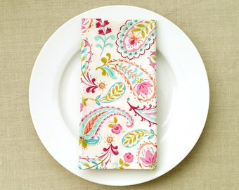Happy Paisley Fabric Napkins - Fabric Dinner Napkins - Set of 2
