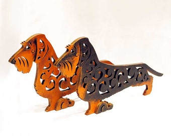 Statuette Wirehaired dachshund, figurine made of wood, hand-painted with acrylic and metallic paint
