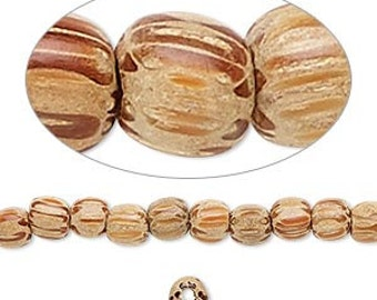 "Wood Bead, Coconut Palm Tree Wood, Striped Bead, Natural Wood, 4 to 5mm, 16"" String, D876"