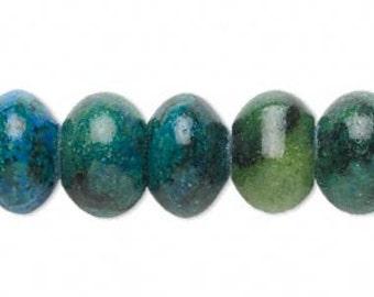 Beads, Blue, Green, Yellow, Serpentine, Jasper, Quartz, Gemstone, 14x10mm to 16x11mm, 10 each, D880