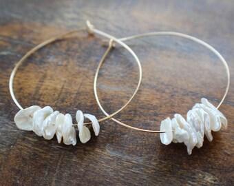 Pearl Hoops,  Gold filled Hoops with Flake Pearls, Freshwater Pearl Earrings