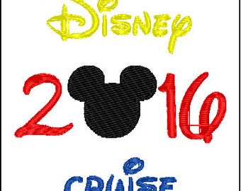 Mickey Mouse Disney Vacation Cruise 2016 Embroidery Design