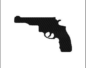 Hand Gun Pistol Embroidery Design