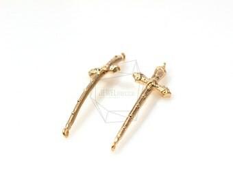 PDT-261-MG/5Pcs-Cross sword Pendant / 14mmx38mm /Matte Gold Plated over brass
