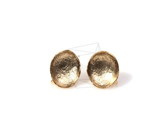 ERG-074-MG/4Pcs-Round Cup Ear Post/ 10mm x 10mm /Matte Gold Plated over  Brass/925 sterling silver post