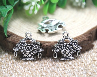 25pcs- flower basket Charms Antique Tibetan silver flower basket charm pendants 18x19mm D1870