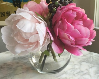 Pink Peony Faux Arrangement in Bubble Vase With Illusion Water