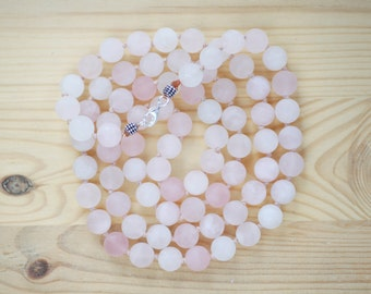 Pink summer necklace / Rose quartz  necklace / Long pink  necklace /  Hand knotted rose quartz necklace