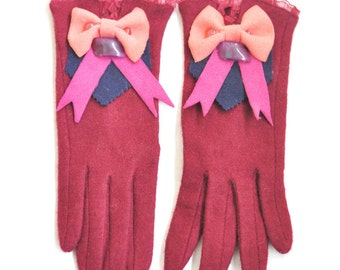 Burgundy gloves, cashmire gloves, mohair gloves, embellished gloves, plum gloves, gloves with bow, winter gloves, burgundy warmers, gift,