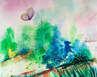 Summer landscape painting Original watercolor painting Art with butterflies painting Sunrise painting Landscape art original watercolor