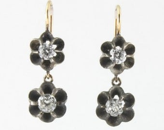 Antique Georgian diamonds, silver, 14 karat gold dangling drop earrings, circa 1850.