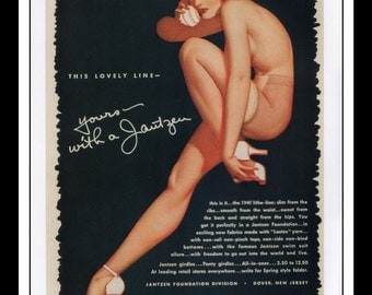 "George Petty Vintage Pinup Illustration Sexy Pinup Jantzen Swimwear / Bestform Ad Mature Double Sided Wall Art Deco Book Print 9"" x 11 3/4"""
