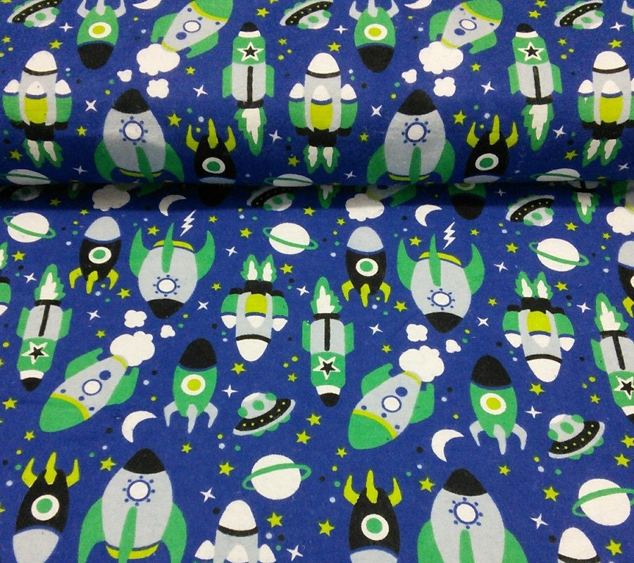 Flannel space rocket by the yard from decousuca on for Space flannel