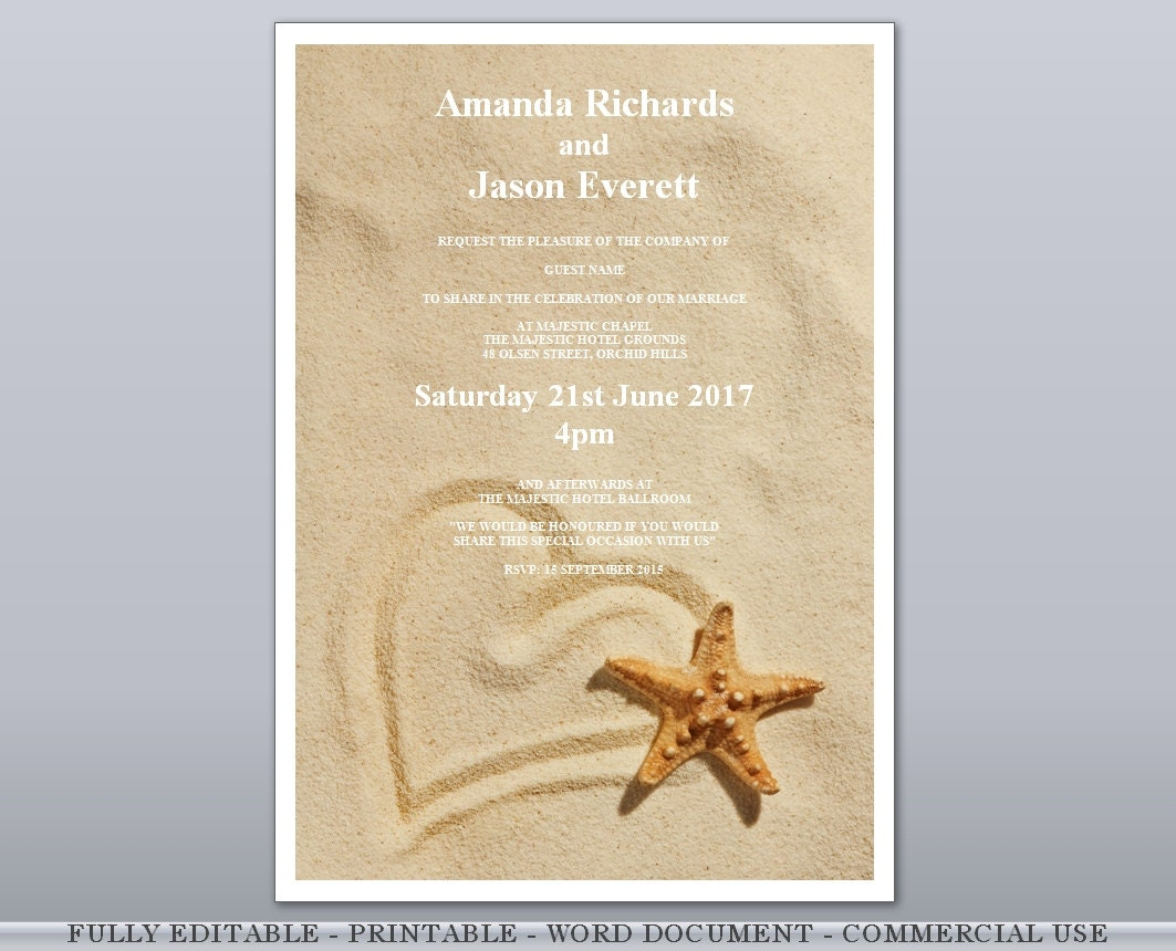 editable rsvp card heart in sand starfish beach editable printable wedding invites engagement invitations template rsvp gift card wishing well