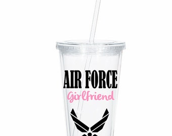 Personalized Air Force Girlfriend Tumbler, Air Force Wife, Air Force Girlfriend Deployment Gift, Deployment tumbler, Military Spouse