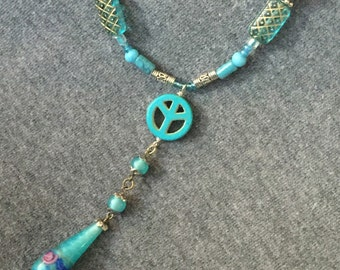 Vintage Venetian Glass Pendant with Turquoise Peace Signs and Vintage Glass Beads