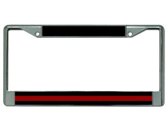 Thin Red Line Firefighter Chrome License Plate Frame - LPO2277