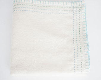 Hand Embroidered Heirloom Baby Blanket or Swaddle #200