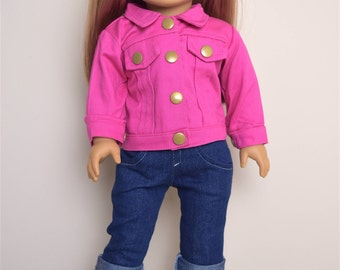 American Girl Doll Clothes  Denim Jacket in Fuchsia color