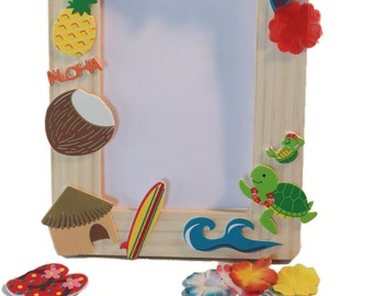Hawaiian Luau Birthday Party Wooden Frame Craft Kit/Party favor for 10