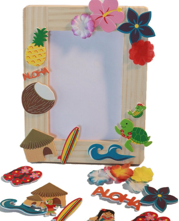 Hawaiian Luau Birthday Party Wooden Frame Craft Kit/Party favor for ...