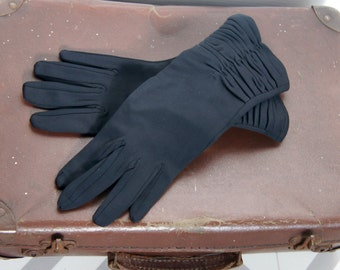 Pair Of Vintage Empire Made Prova Black Ruched Long Evening Gloves Size 7 Medium