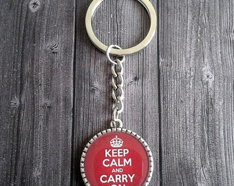 Keep calm and carry on cute keychain