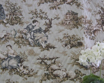 Mill Creek Fabrics, Teal and Taupe on Moss Pastoral Print Fabric