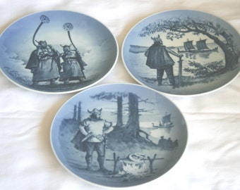 Vintage DAK Viking Plates - Set of 3