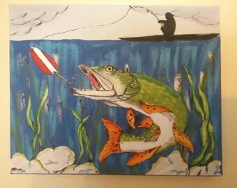 Fishing, fish, man cave, I love fishing, fisherman, fishermen, pike, custom painting