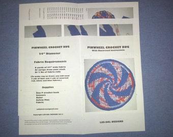 Pinwheel Spiral Crochet Rag Rug Pattern