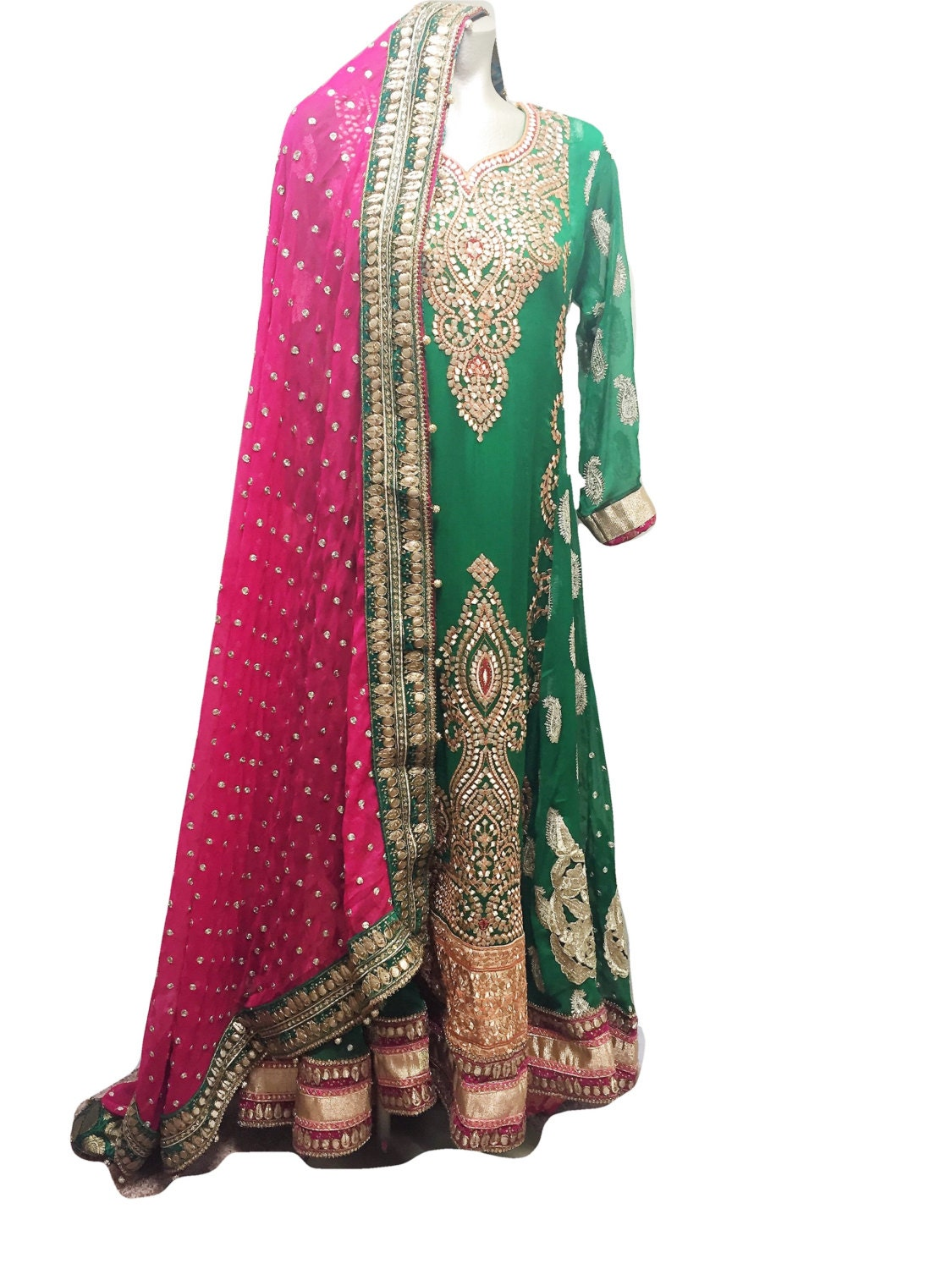 Pakistani Mehndi Bridal Dress Green Pink Gotta by
