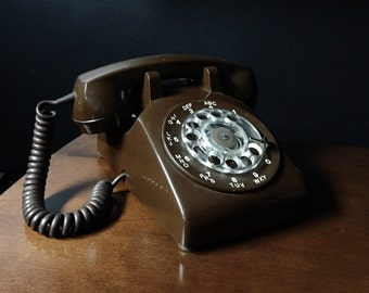 1970's Northern Telecom G Type 500 Series Chocolate Brown Rotary Phone