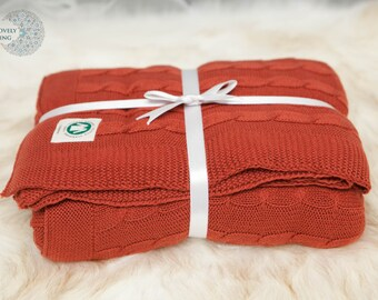 Organic Cotton Cable Knit Throw YourLovelyBedding Bordeaux Color Gorgeous Luxury Quality