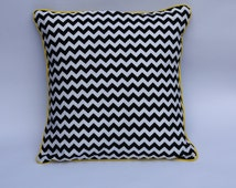 Monochrome Geometric reversible cushion cover in Riley Blake Chevron and Michael Miller Houndstooth fabric with choice of pipping colour