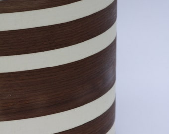Cream linen Drum lampshade with real Walnut wood veneer stripes