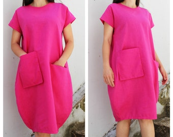 Pink linen dress - Etsy