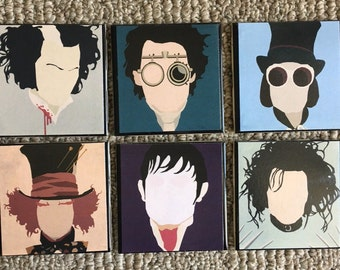 Tim Burton Johnny Depp characters Ceramic Tile collector Coasters New!!! Set of 6! Mix & Match