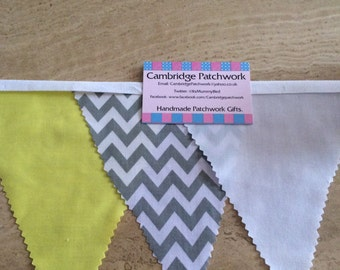 Grey & White Chevron Zig Zag , Yellow and White Cotton Fabric Bunting per metre
