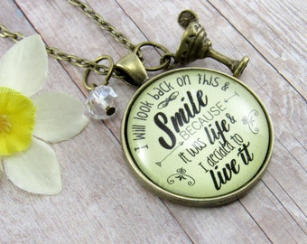 Life is Beautiful 'It was Life and I Decided to Live it' No Regrets Survivor Necklace Cancer Survivor Gift Margarita Gifts