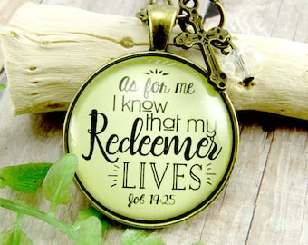 As For Me I Know My Redeemer Lives Scripture Quotes Bible Verse Keychain Christian Necklace Redeemed Jewelry Scripture Gifts