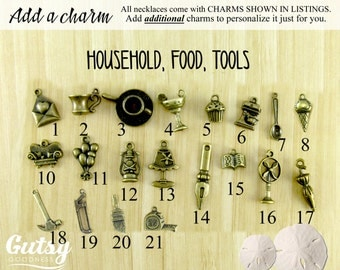 Household Items, Food, & Tool Charms You Can Add to Your Gutsy Goodness Pendant Necklace or Keychain, Antique Bronze