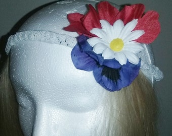 Red White and Blue Flower and Lace Headband