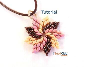Superduo Bead Patterns - Beaded Necklace Patterns - Pendant - Beading Tutorials and Patterns - Beadweaving Tutorial - Pinwheel Pendant