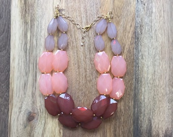 Coral Brown statement necklace, bib and chunky necklace, bridesmaids, wedding, handmade, JCrew Anthropologie Style, valentines, Mother's Day