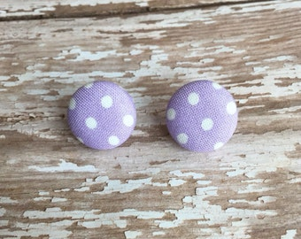 Fabric earrings, polka dot jewelry, polka dot earrings, purple polka dots, button earrings, fabric button earrings